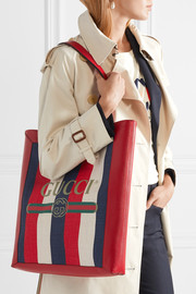 Leather-trimmed striped canvas tote