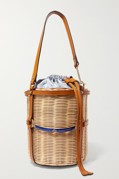 d4c667198d4a Gucci   Leather-trimmed wicker bucket bag   NET-A-PORTER.COM