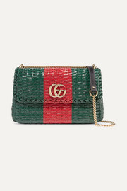 Gucci Linea Cestino leather-trimmed coated-wicker shoulder bag