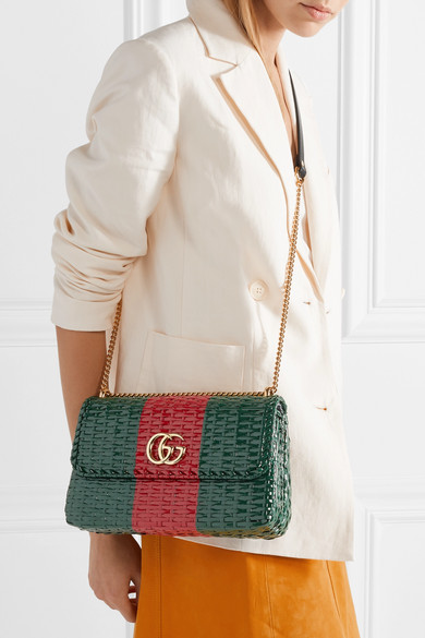 71cb21fc1 Gucci   Leather-trimmed coated-wicker shoulder bag   NET-A-PORTER.COM