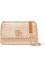 Linea Cestino leather-trimmed wicker shoulder bag