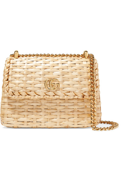 0be6a48b2d4 Gucci. Linea Cestino mini leather-trimmed wicker shoulder bag