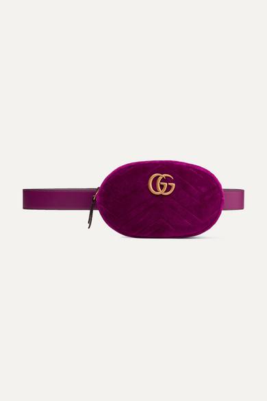 3f2221ba3786 Gucci | GG Marmont quilted velvet belt bag | NET-A-PORTER.COM