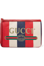 Gucci Printed canvas and leather pouch