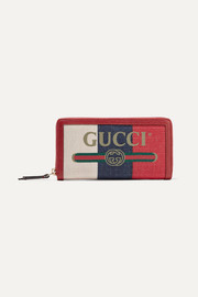 Linea Merida textured leather-trimmed printed canvas wallet