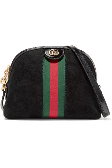 bb8fc630627e Gucci   Ophidia patent leather-trimmed suede shoulder bag   NET-A ...