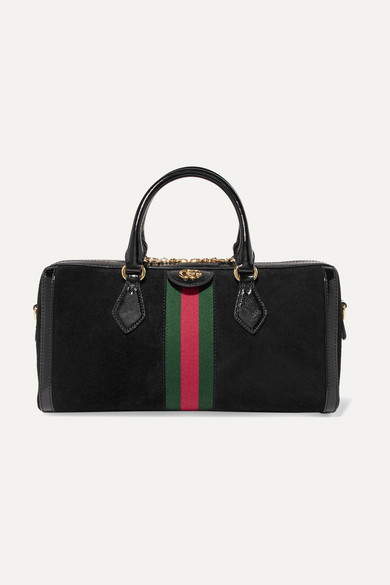 GUCCI OPHIDIA PATENT LEATHER-TRIMMED SUEDE TOTE
