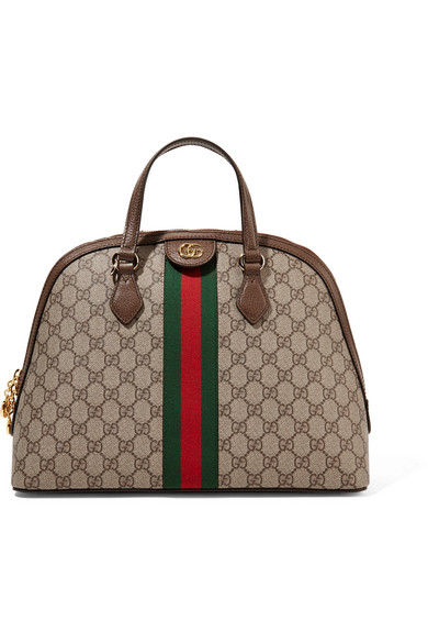 Ophidia Textured Leather Trimmed Printed Coated Canvas Tote by Gucci