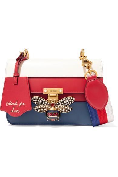 40aa6f261eb5 Gucci   Queen Margaret embellished color-block leather shoulder bag    NET-A-PORTER.COM