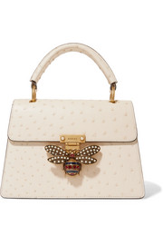 Gucci Queen Margaret embellished ostrich shoulder bag