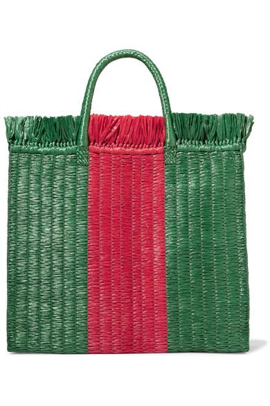 Linea Cestino striped raffia tote