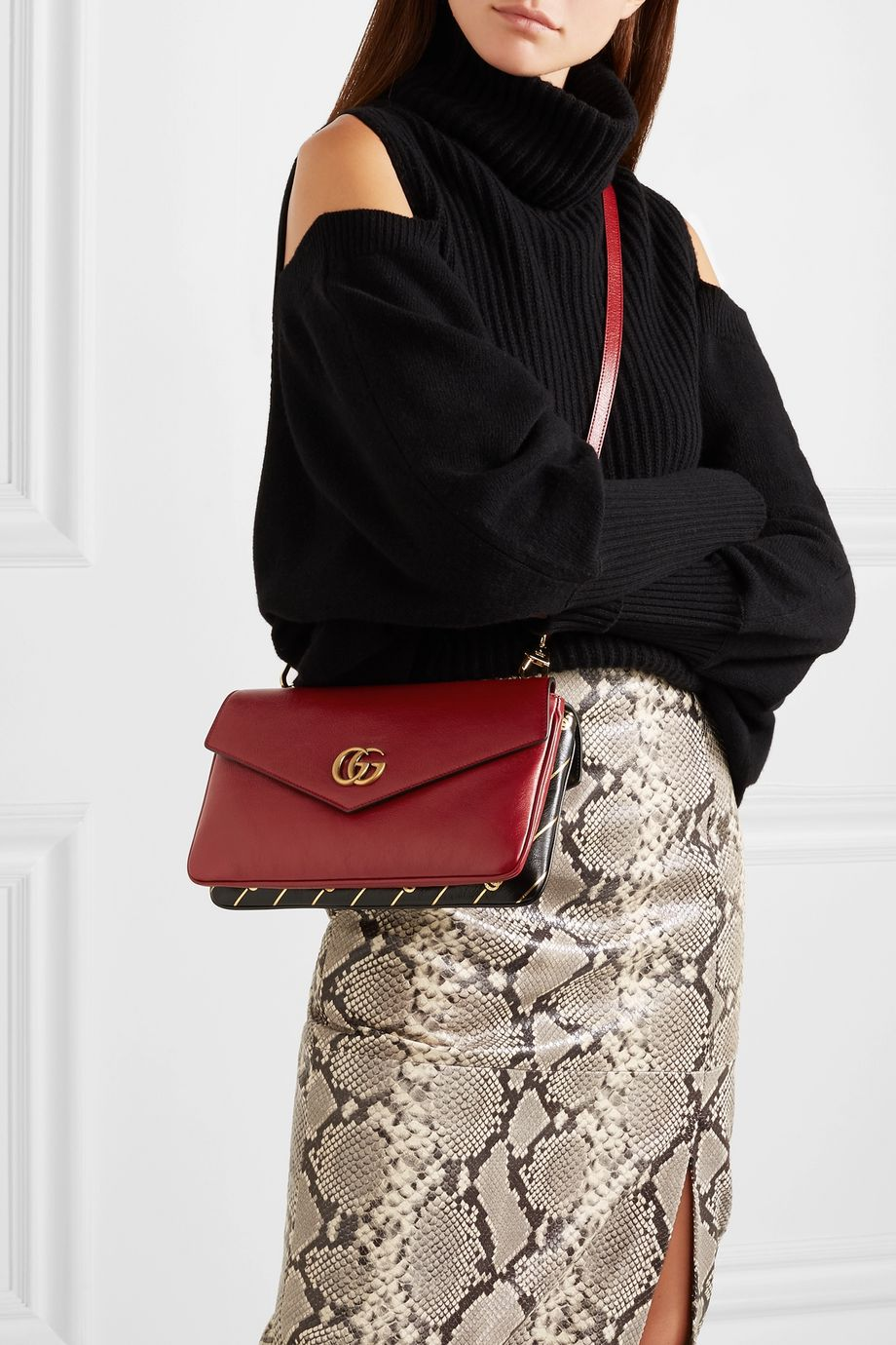 Gucci Thiara embellished printed leather shoulder bag