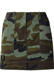 Camouflage-print stretch-cotton mini skirt