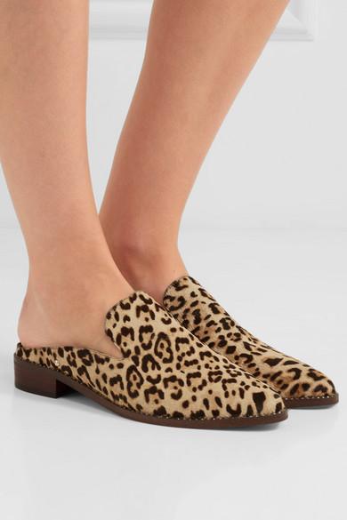 Sam Kalbshaar Edelman | Slippers aus Kalbshaar Sam mit Leopardenprint und Kristallen 364a86