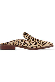 Crystal-embellished leopard-print calf hair slippers