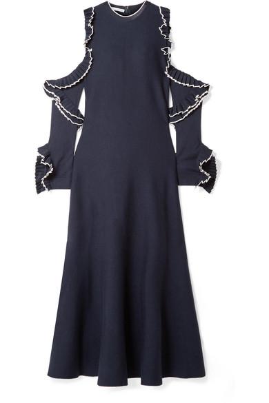 Wholesale Oscar de la Renta Cold-shoulder ruffled wool midi dress  hot sale