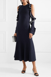 Cold-shoulder ruffled wool midi dress