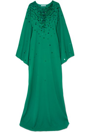 Embellished silk crepe de chine gown