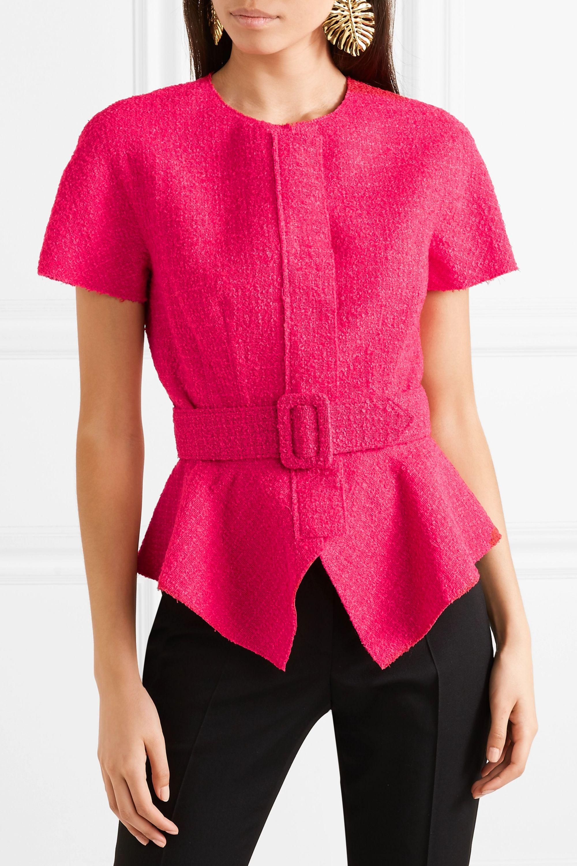 Oscar de la Renta Belted wool-blend tweed peplum jacket