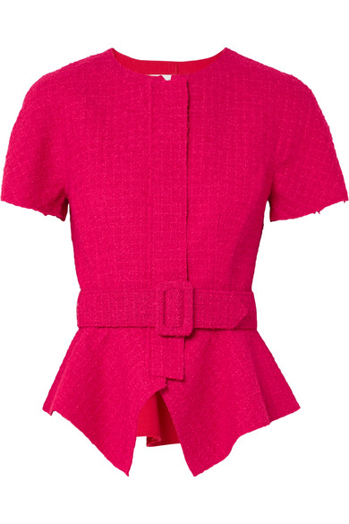 Belted Peplum Wool Blend Tweed Jacket, Raspberry