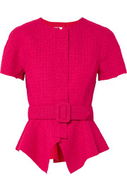 Oscar de la Renta Belted wool-blend tweed peplum jacket
