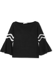 Oscar de la Renta Tulle-trimmed wool and silk-blend top