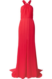Draped silk-crepon halterneck gown