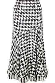 Oscar de la Renta Fringed houndstooth wool-blend tweed midi skirt