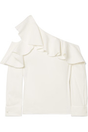 Ruffled one-shoulder stretch-silk crepe top