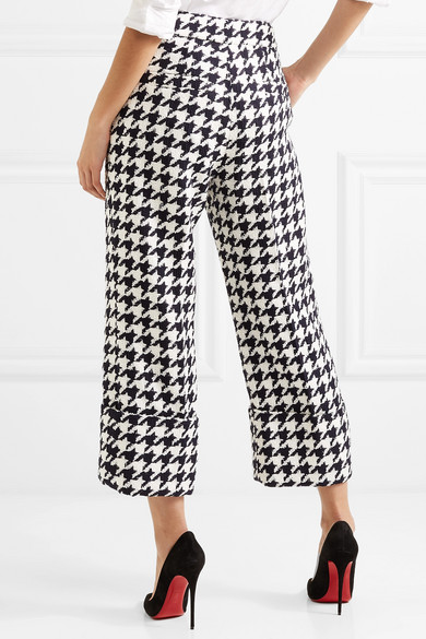 Cropped Houndstooth Wool-blend Tweed Straight-leg Pants - Black Oscar De La Renta 1vAUcVssHT