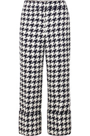 Oscar de la Renta Cropped houndstooth wool-blend tweed straight-leg pants