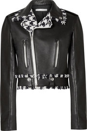 Frayed tweed-trimmed leather biker jacket