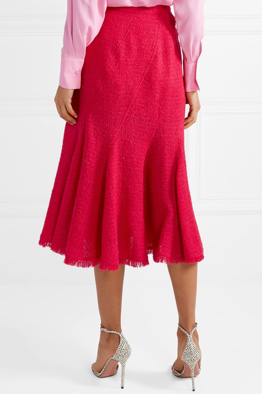 Oscar de la Renta Frayed wool-blend tweed midi skirt