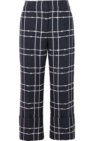 Checked Straight Cropped High-Rise Cotton-Blend Trousers, Navy