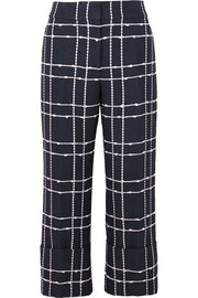 Oscar de la Renta Cropped checked cotton-blend bouclé straight-leg pants