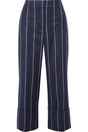 Cropped striped wool-blend wide-leg pants