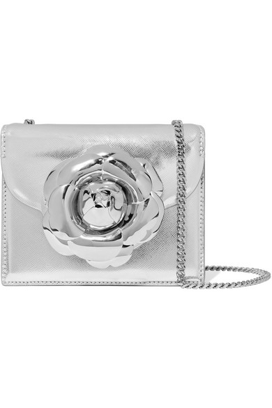Tro Mini Embellished Metallic Textured Leather Shoulder Bag by Oscar De La Renta