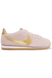 Cortez SE suede and metallic patent-leather sneakers