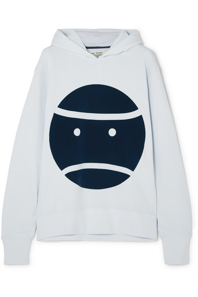 Little Grumps Appliquéd French Cotton-Terry Hoodie in Sky Blue