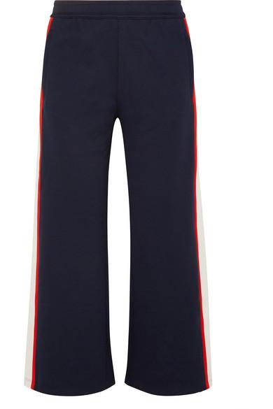 TORY SPORT Wide-Leg Cropped Side-Stripe Jersey Track Pants in Navy