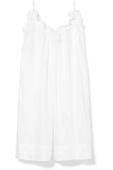Nightingale Ruffled Cotton-Voile Nightdress, White