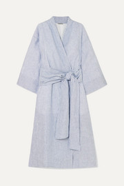 Isabella striped linen robe
