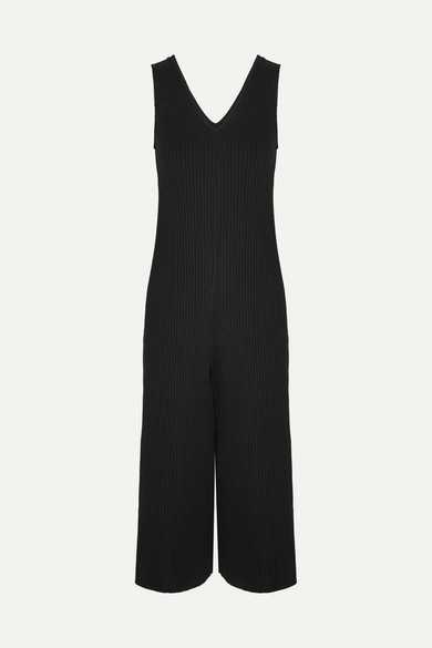 CALÉ Gigi Cropped Ribbed Stretch-Jersey Jumpsuit in Black