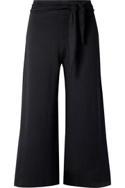 Jolie tie-front stretch-knit culottes