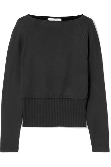 Arielle Stretch-Knit Sweater in Black