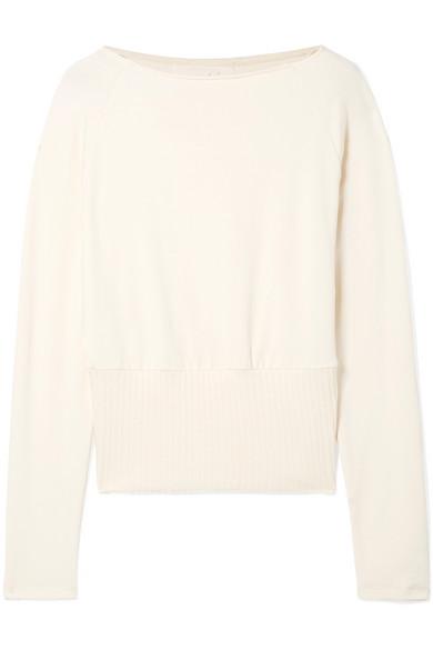 Arielle Stretch-Knit Sweater in Cream