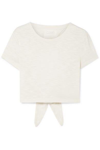 CALÉ Jolie Tie-Back Slub Jersey T-Shirt in Cream