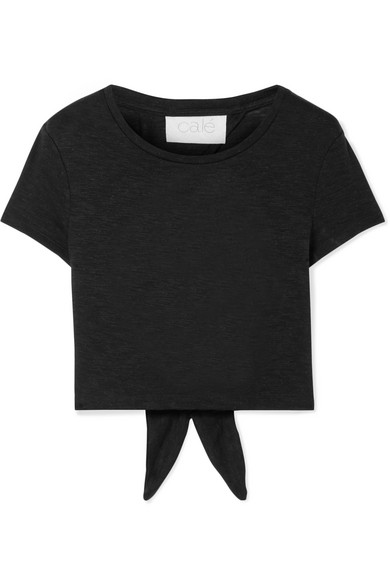CALÉ Jolie Tie-Back Slub Jersey T-Shirt in Black