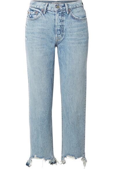 GRLFRND Helena Distressed High-Rise Straight-Leg Jeans in Light Denim