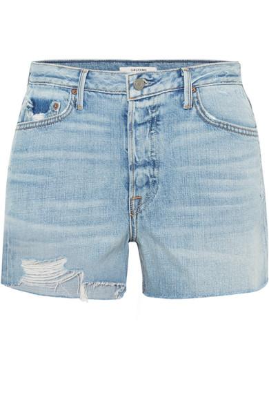 GRLFRND Helena Distressed Denim Shorts in Mid Denim